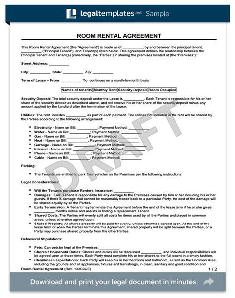 room rental agreement form create   room rental