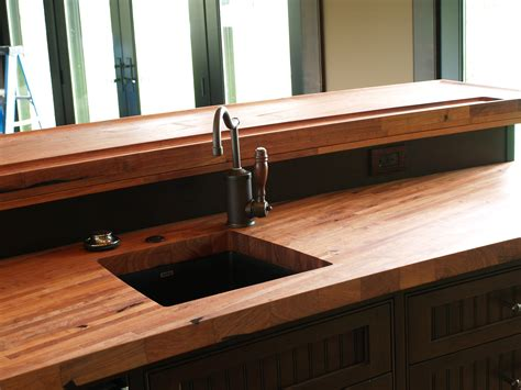custom solid wood edge grain mesquite counter top