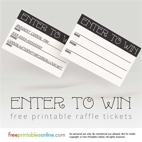 enter to win template enter to win printable raffle tickets free printables