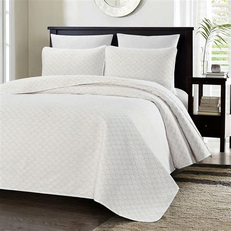 King White Coverlet by Chezmoi Collection Geometric Quilted Oversize Bedspread