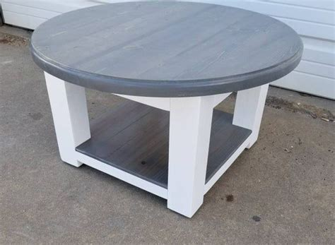 Use the shelf for some decoration elements and pieces, or extra throw pillows. Round farmhouse coffee table with gray stained top and lower shelf - rustic furniture ...