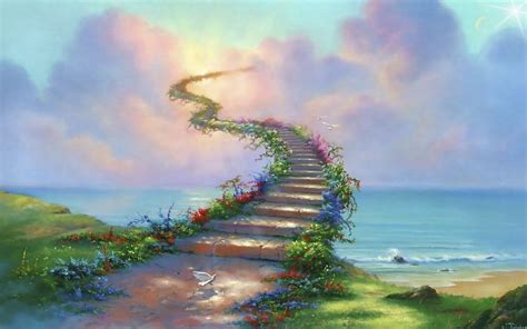 stairway  heaven path dove clouds abstract ultra