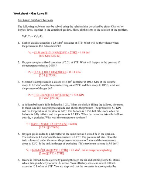 combined gas laws worksheet worksheets for all