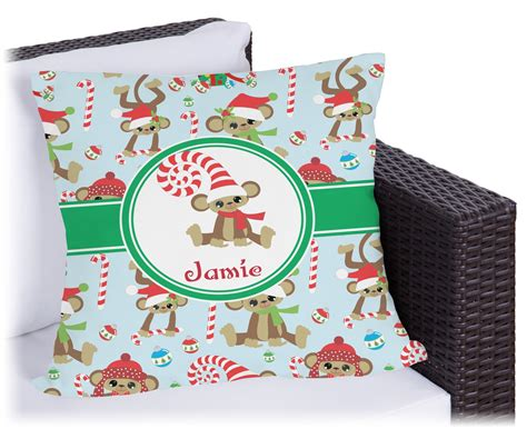 christmas monkeys outdoor pillow personalized