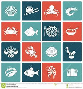 Seafood Icons Set Flat Stock Vector - Image: 46375698