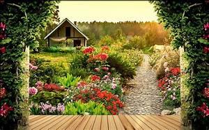 Custom photo wallpaper Large 3D Stereo romantic garden 3d ...