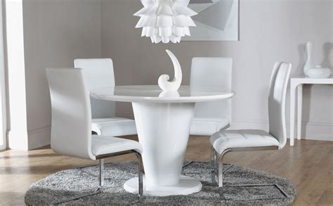 white high gloss dining table and 4 chairs set