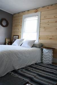diy shiplap paneling as a custom bedroom headboard merrypad With accent wall boards