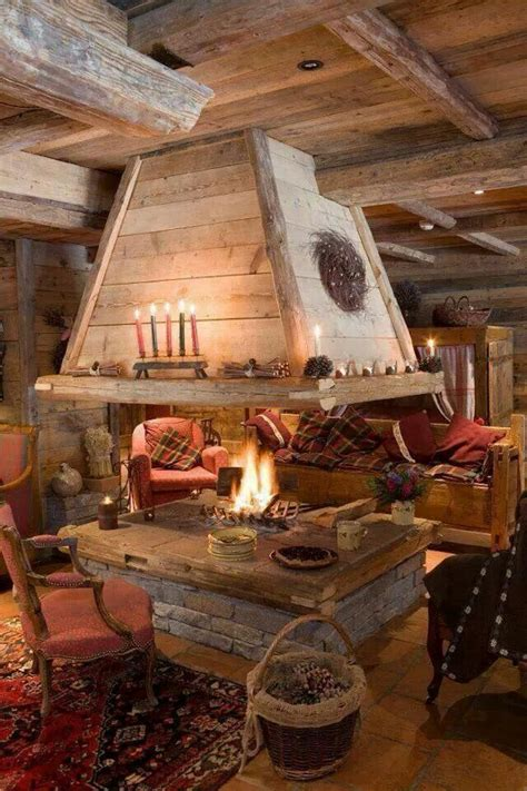 indoor fire pit rustic house log homes rustic living