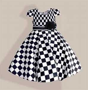 Big Size Girls Dresses Black White Plaid Kids Dress with ...