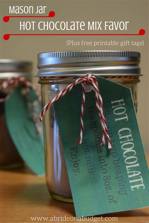 Mason Jar Hot Chocolate Mix Favors Plus Free Printable