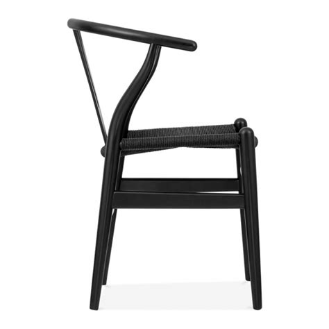 hans wegner style wishbone dining chair with black seat