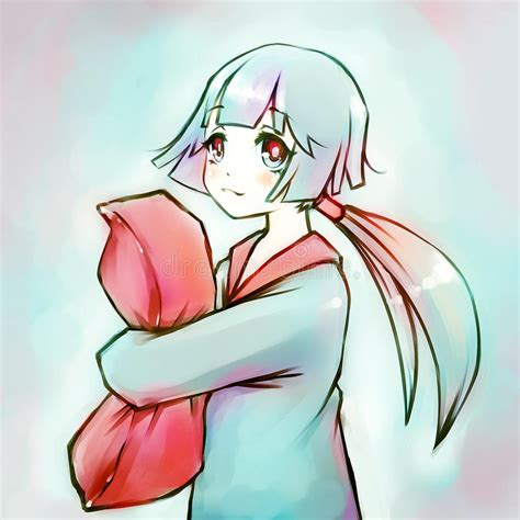 anime hug pillow anime hugging a pillow stock illustration