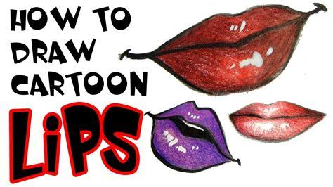 draw cartoon lips youtube