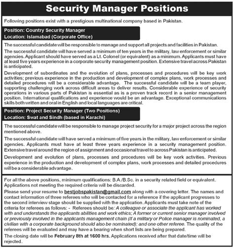 security manager jobs multinational country company project job please