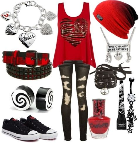 Red Thick-Strap Tank Top W/ Doodle Heart Black Ripped Skinny Jeans Red Beanie Charm Necklace ...