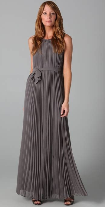 lyst halston pleated long dress  gray