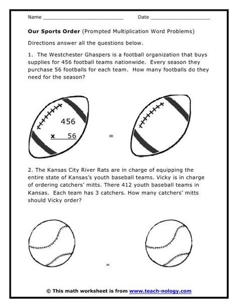 sports word problems multiplication word problem worksheets math basics middle school