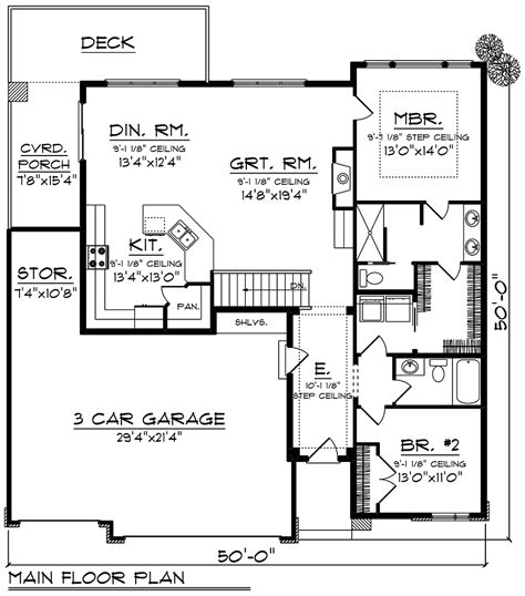 House Plan 75448 Ranch Style with 1484 Sq Ft 2 Bed 1