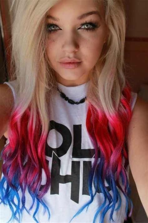 blonde hair  blue red pink  purple tips love