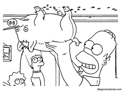 Dibujos Sin Colorear: Dibujos de la Familia Simpsons para