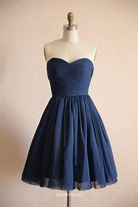 short navy strapless pleated simple bridesmaid dress With navy blue dress for wedding