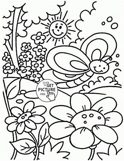 Coloring Spring Pages Printable Kindergarten Seasons Nice