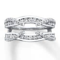 wedding ring wrap enhancer ring 3 4 ct tw cut 14k white gold