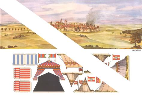 Vorgegebene ausschneidebogen können ausgemalt, ausgeschnitten und zusammengeklebt werden. Berliner Zinnfiguren | Hintergrund und Zelte zum ...