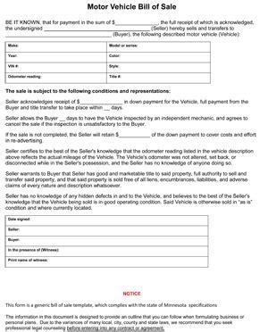 minnesota auto bill  sale form ws templates forms
