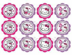 Diy printable hello kitty cupcake toppers 700 via etsy for Hello kitty cupcake topper template