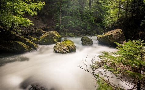 long exposure stream waterfall forest landscape