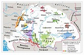 Map of Hungarian Kingdom, showing areas inhabited by ...
