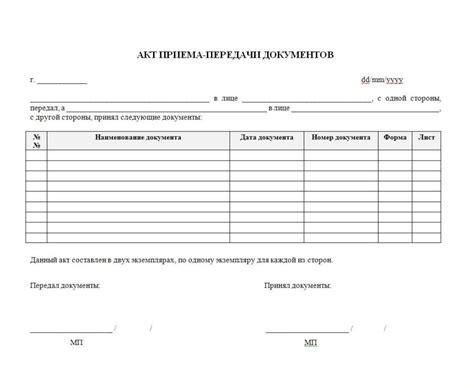 форма акта приема передачи автомобиля при продаже