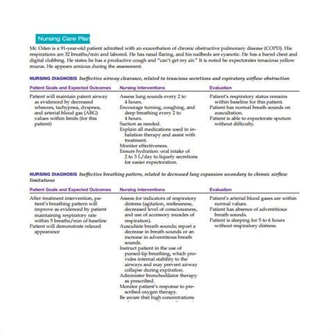 Nursing Care Plan Format Template by 8 Nursing Care Plan Templates Sle Templates