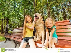 Two girls with happy dog stock photo image 44099604 for Dog day sitting