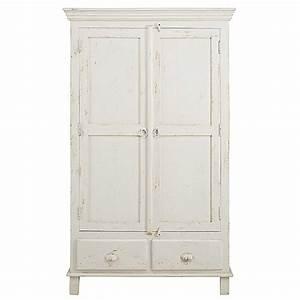 Maison Du Monde Armoire : armoire 2 portes 2 tiroirs en manguier blanc patin ~ Melissatoandfro.com Idées de Décoration