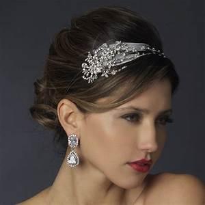 Antique Silver Crystal Feather Bridal Headpiece Elegant