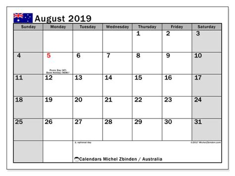 calendars august  public holidays australia michel