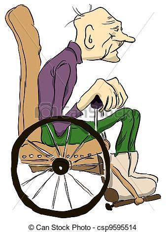 dessin de vieux homme papy assied fauteuil roulant vecteur csp9595514 recherchez des