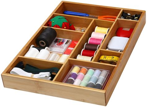 Ybm Home & Kitchen Bamboo Utility Drawer Organizer For