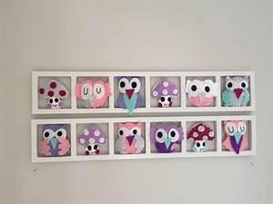 Cadre Chambre Fille : deco murale hiboux sweet dreams tons rose gris lila ~ Nature-et-papiers.com Idées de Décoration
