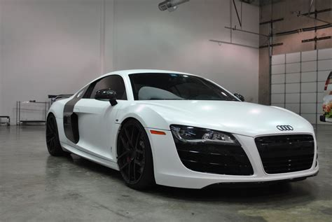 black audi r8 color change to satin white car wrap city