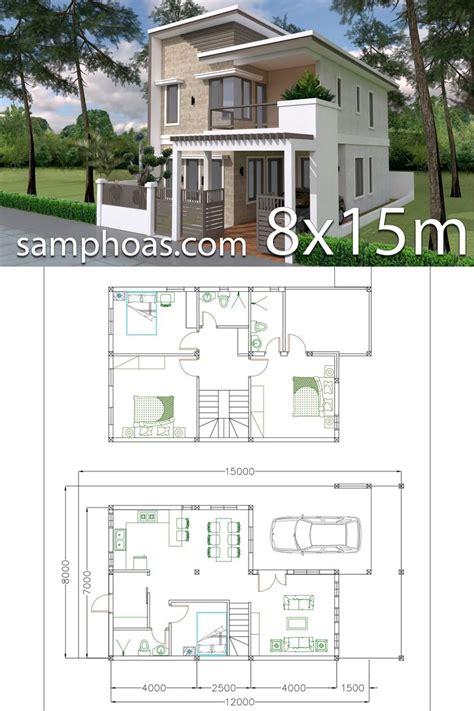 Home Design Plan 7x12m with 4 Bedrooms Plot 8x15 em 2020