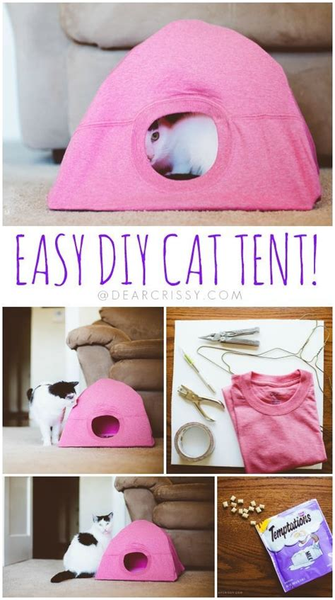diy cute cat pets tent easy craft cats pet tutorial very idea crafts bed cool kittens dog animals kitten really