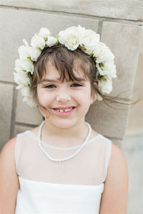 flower girl ivory halo flower crown wedding party