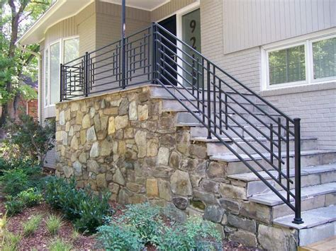 Outdoor Stone Steps And Iron Railing