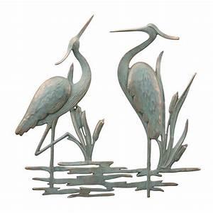 Double heron wall hanging decor coastal nautical metal art