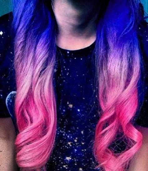 Pink Blue And Purple Ombre Hair Hair Color Styles