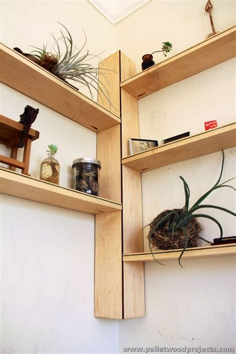 corner wood shelf pallet corner shelf plans pallet wood projects